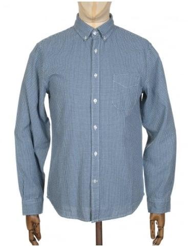 Edwin Jeans L/S Standard Shirt - Dobby Mock Indigo Blue