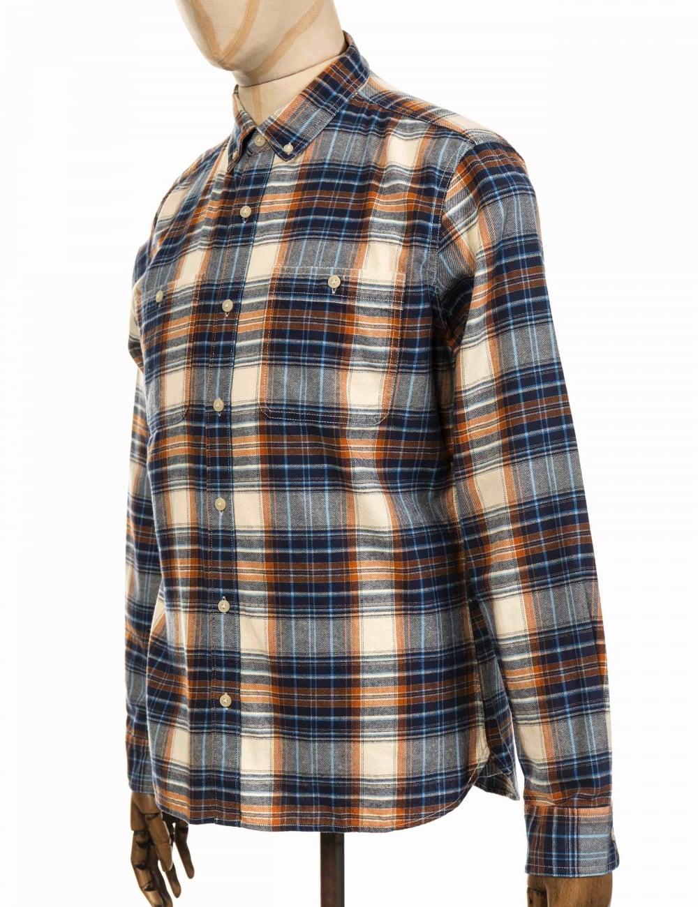 ee5e7ebdb30 Edwin Jeans Standard Triple 10 Check Shirt - Blue Rust - Clothing ...