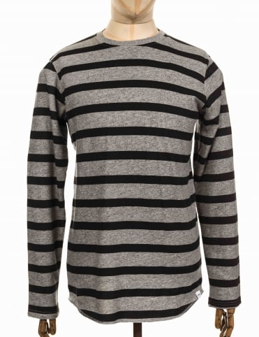 L/S Terry Stripe T-shirt - Dark Grey/Black