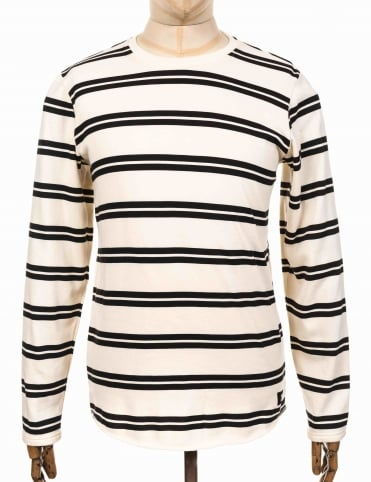 L/S Terry Stripe Tee - Natural/Black