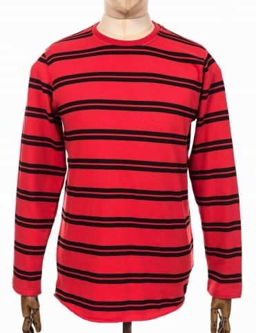 L/S Terry Stripe Tee - Washed Red/Black