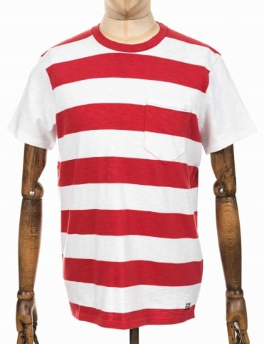 Ringer Striped Tee - White/Washed Red