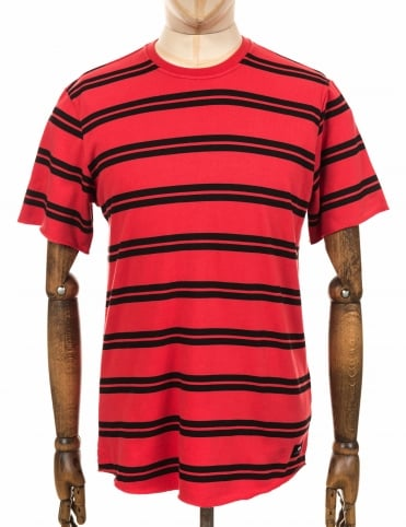 S/S Terry Striped Tee - Red/Black