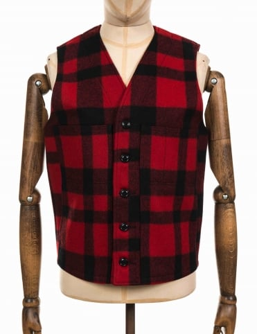 Mackinaw Wool Vest - Red/Black Plaid