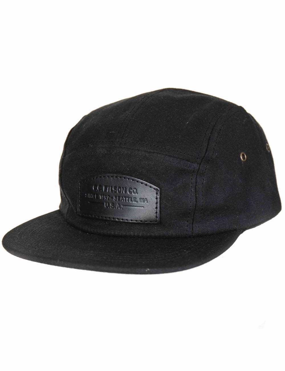 880dd18fa44 Filson Waxed Leather Patch 5 Panel Hat - Black - Hat Shop from Fat ...
