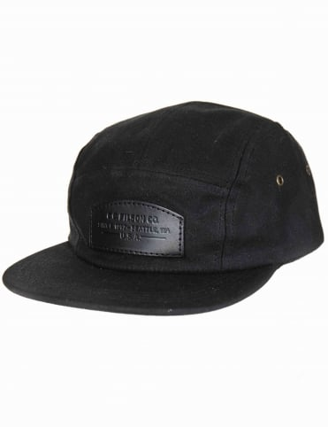 Waxed Leather Patch 5 Panel Hat - Black