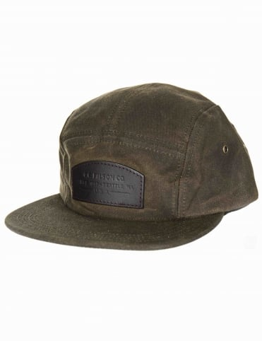Waxed Leather Patch 5 Panel Hat - Otter Green