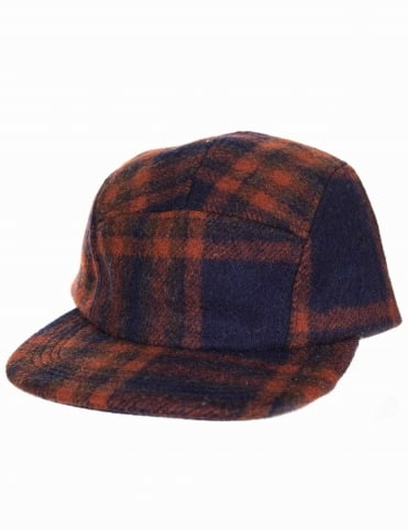 Wool 5 Panel Cap - Navy/Copper Brown