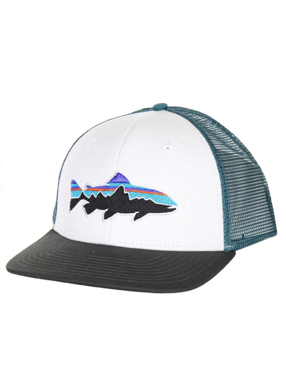 Patagonia Fitz Roy Trout Trucker Hat - White w Forge Grey ... 7388a9ea4ca