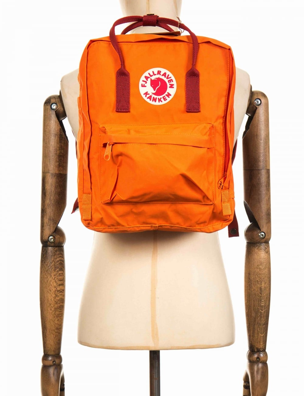 Backpack Fjallraven Kanken Classic Royal Blue Pinstripe Pattern Burnt Orange Deep Red