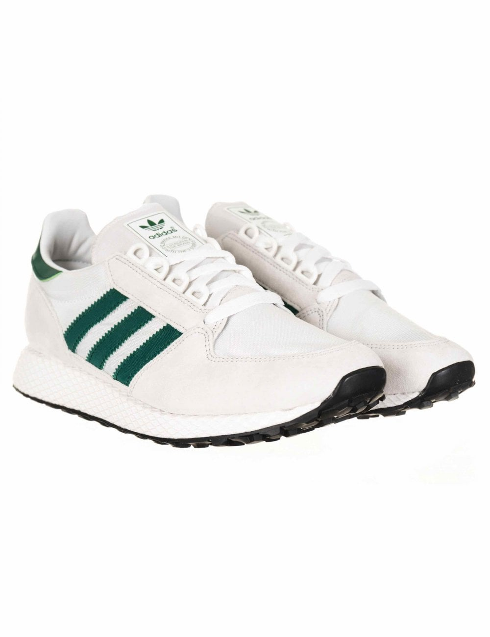 Adidas Originals Forest Grove Trainers - Crystal White Collegiate Green -  Footwear from Fat Buddha Store UK c912413dd
