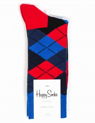 Argyle Pattern Socks - Blue/Red/Black