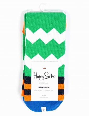 Athletic Zig Stripe Socks - Green
