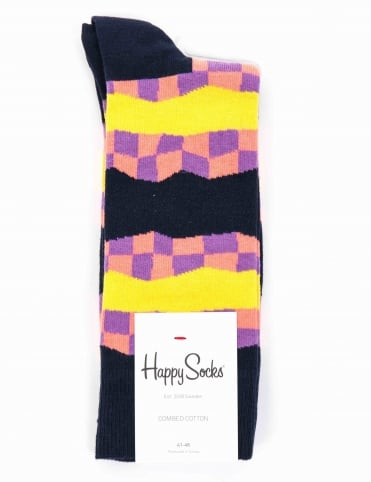 Checkered Stripe Socks - Blue/Multi