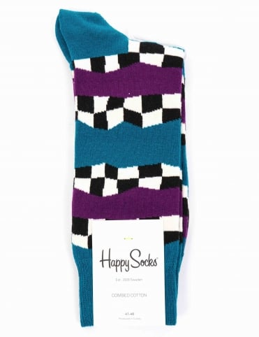 Checkered Stripe Socks - Blue