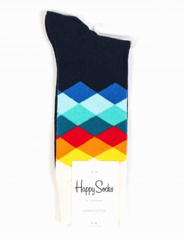 Faded Diamonds Socks - Blue