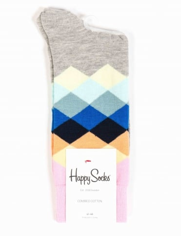 Faded Diamonds Socks - Grey