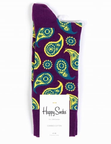 Paisley Pattern Socks - Purple