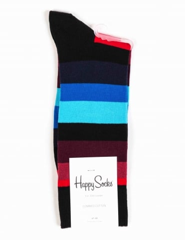 Happy Socks Stripe Socks - Black/Blue