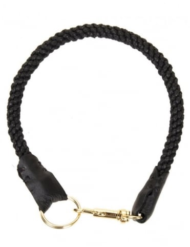 Leather Trim Lanyard - Black/Gold