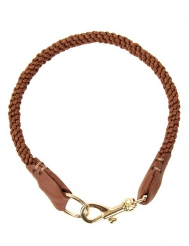 Leather Trim Lanyard - Brown/Gold