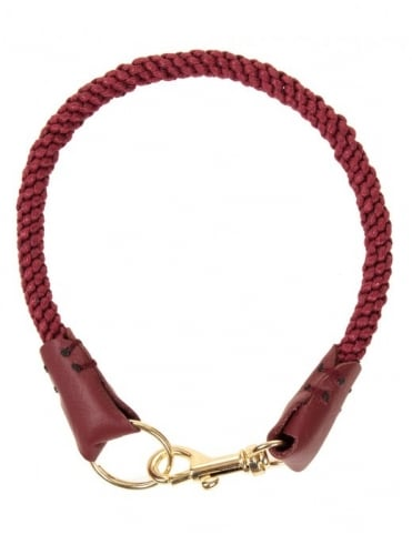 Leather Trim Lanyard - Wine/Gold