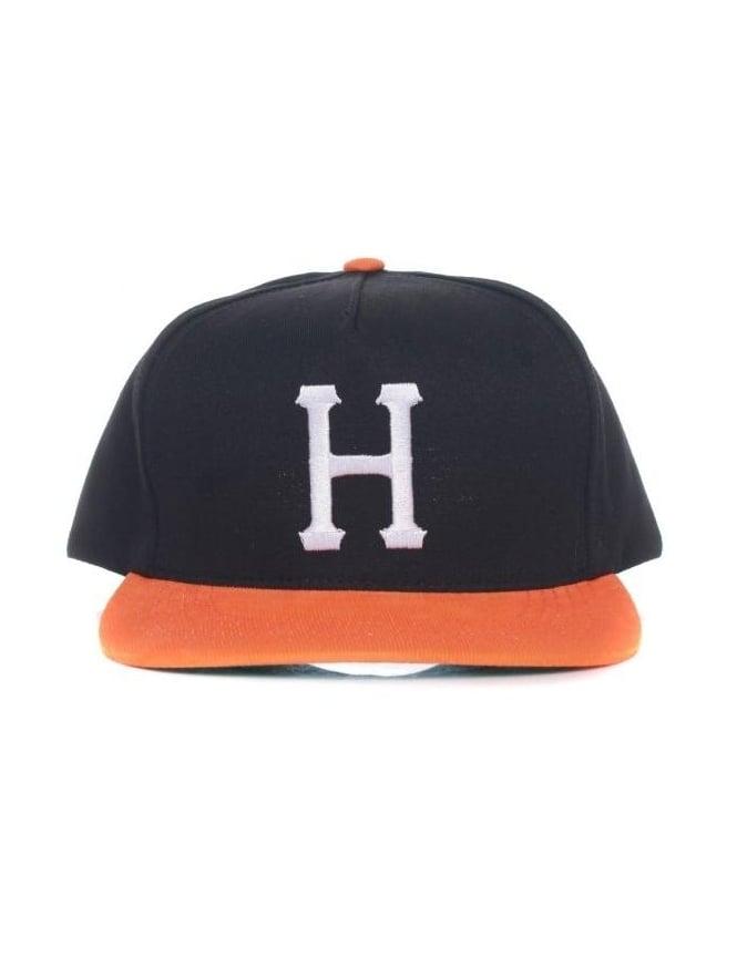Huf Big H Snapback Hat - Black/Orange
