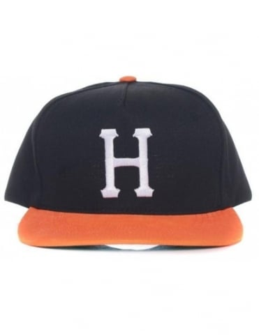 Huf Big H Snapback Hat - Black/Orange