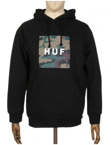 Huf Box Logo Muted Military Hooded Sweat - Black