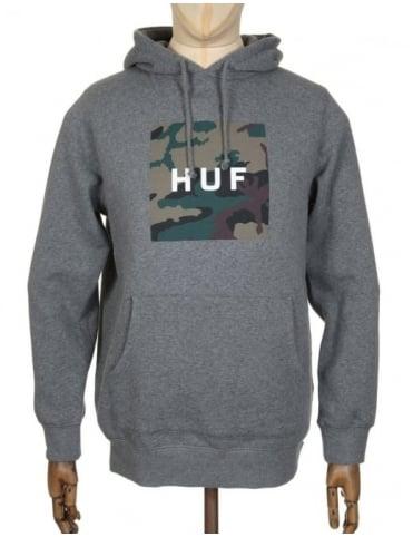 Huf Box Logo Muted Military Hooded Sweat - Heather Grey
