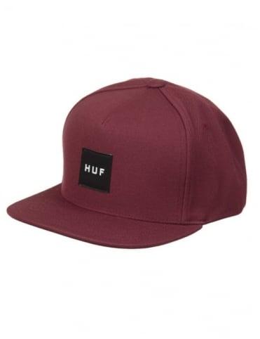 Huf Box Logo Snapback Hat - Wine