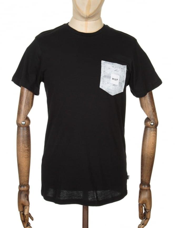 Huf Concrete Box Logo Pocket T-shirt - Black