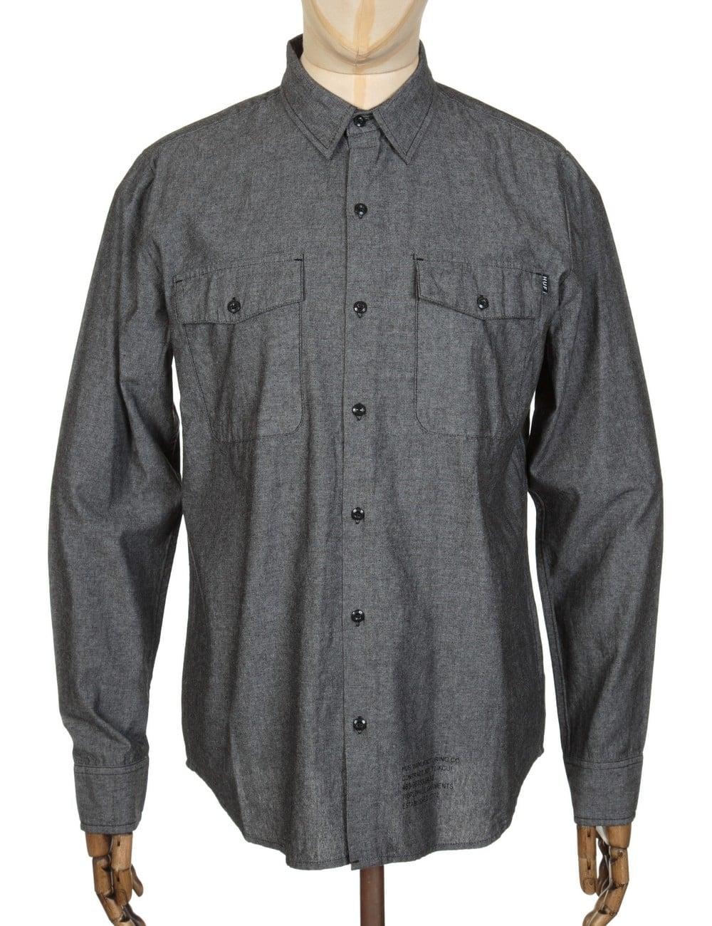 30c2c987ca14 Huf L/S MFG Chambray Shirt - Black - Shirts from Fat Buddha Store UK