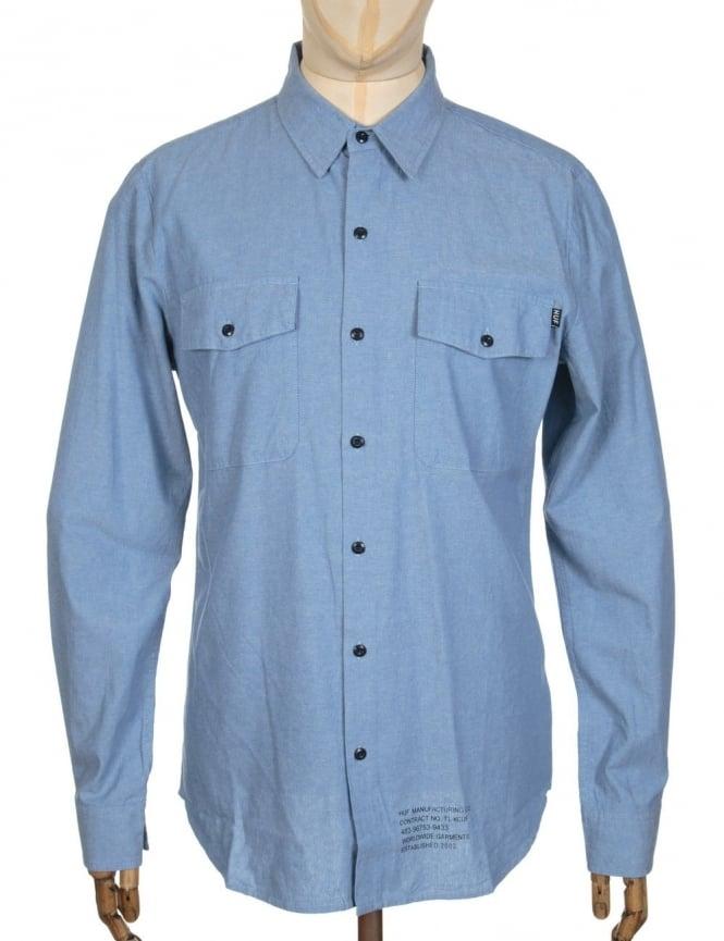 Huf L/S MFG Chambray Shirt - Blue