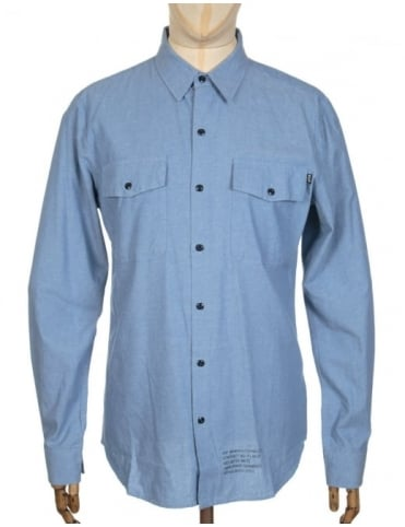 Huf L/S MFG Chambray Shirt - Blue