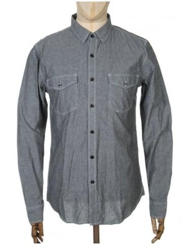 Huf L/S Rush Hour Chambrey Shirt - Black