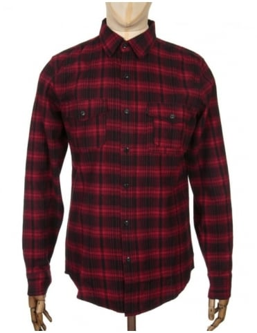 Huf L/S Tardy Flannel Shirt - Red