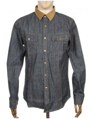 Huf L/S Vintage Workshirt - Indigo/Beige