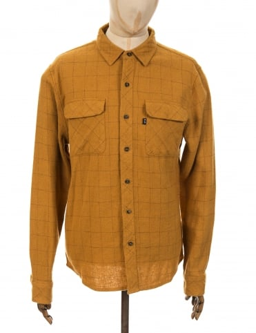 Huf LS Block Plaid Flannel Shirt - Camel
