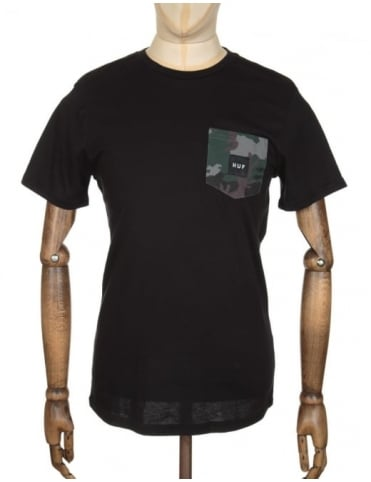 Huf Muted Camo Contrast Pocket T-shirt - Black