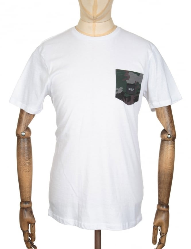 Huf Muted Camo Contrast Pocket T-shirt - White