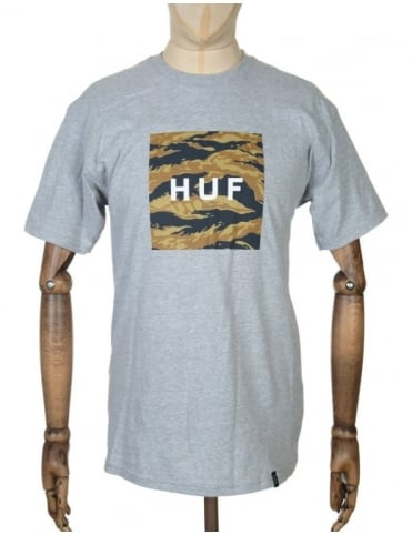 Huf Tiger Camo Box Logo T-shirt - Grey Heather