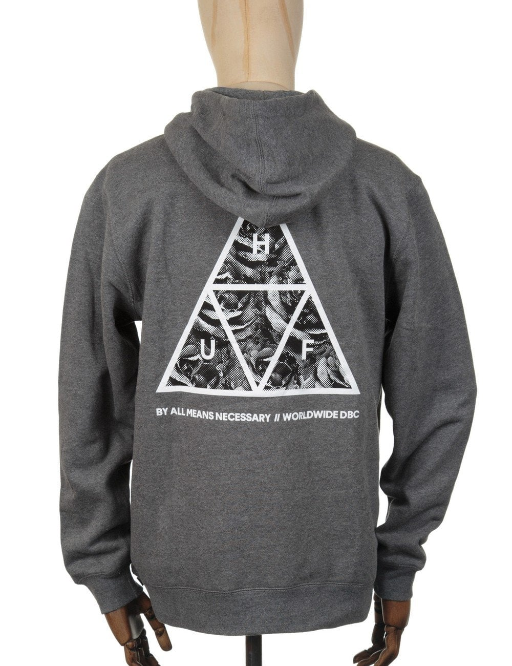huf triangle rose hooded sweatshirt grey clothing from fat