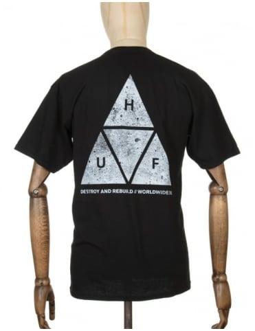 Huf Triple Triangle Concrete T-shirt - Black