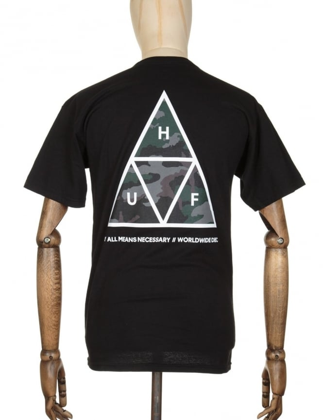 Huf Triple Triangle Muted Military T-shirt - Black
