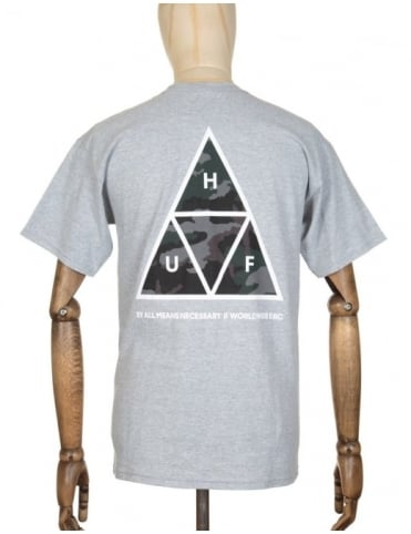 Huf Triple Triangle Muted Military T-shirt - Heather Grey