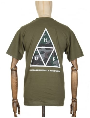 Huf Triple Triangle Muted Military T-shirt - Olive