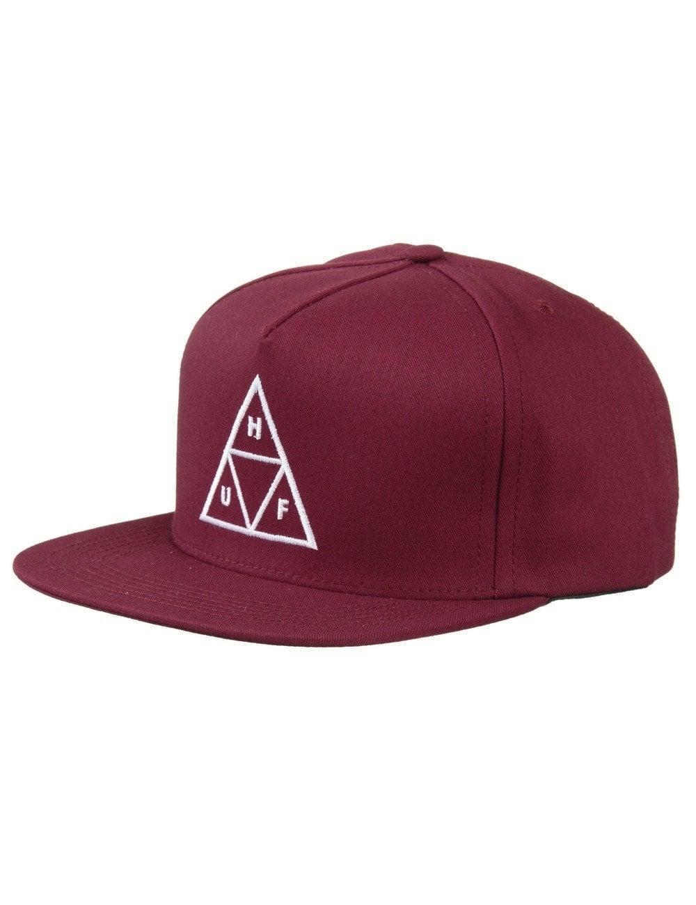 56d2e5cca8c Huf Triple Triangle Snapback Hat - Wine - Accessories from Fat ...