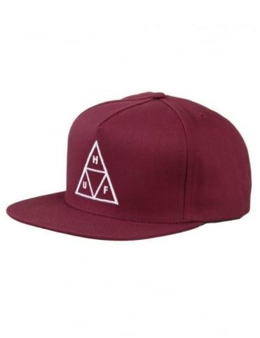 Huf Triple Triangle Snapback Hat - Wine