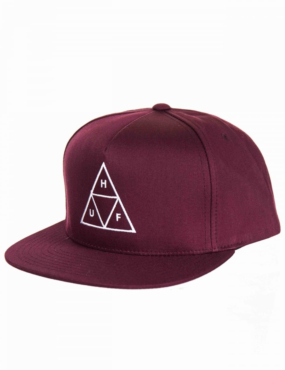 Huf Triple Triangle Snapback Hat - Wine - Accessories from Fat ... e33185a95f42